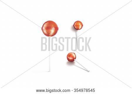 Blank Red Caramel Lollipop Mock Up, Different Views, 3d Rendering, Empty Orange Fruity Sweetmeat Moc