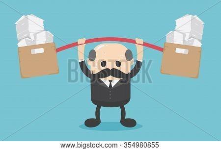 Business Concept Cartoon Illustration Boss Businessmen With Overwhelming Workloads