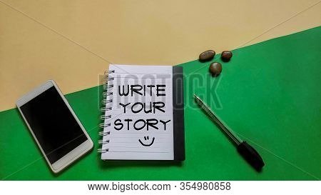 National Celebration Day - Text Write Your Story With Smile Icon On Notepaper