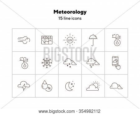 Meteorology Icon Set. Cloud, Forecast, Snow. Climate Concept. Can Be Used For Topics Like Temperatur