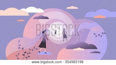 Near Death Experience Concept, Flat Tiny Person Vector Illustration.afterlife Bright Light Tunnel Vi