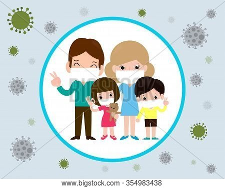 Covid-19 Or Coronavirus 2019-ncov  Disease Prevention Concept With Cartoon Family Wearing Protective