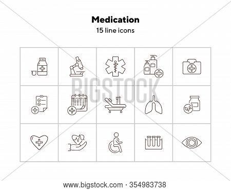 Medication Icons. Set Of Line Icons. Medical Cross, Drug, First Aid Kit. Inpatient Examination Conce