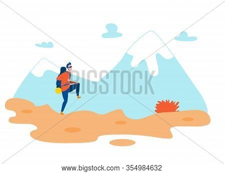 Male Hiker With Backpack Flat Vector Character. Lonely Man Mountaineering, Hiking Cartoon Illustrati