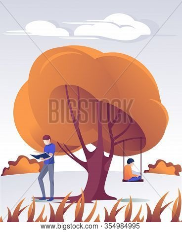 Man And Boy Reading Paper Book In Park Cartoon. Student Standing Under Tree And Schoolboy Sitting On