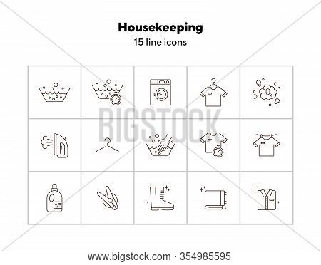 Housekeeping Line Icon Set. Basin, Hand Washing, Clothing. Laundry Concept. Can Be Used For Topics L