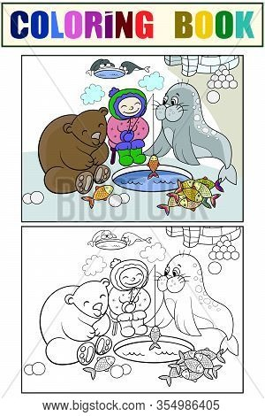 Eskimo Boy Fishing With Animals. Set Children Coloring Book And Color Picture.