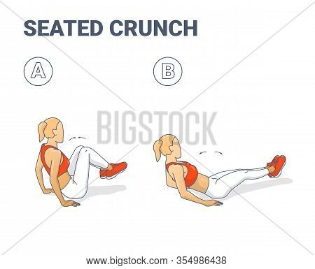 Seated Crunch Exercise - Girl Working At Her Abdominals Colorful Concept.