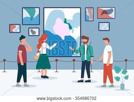 Man Woman In Contemporary Art Gallery Vector Illustration. People Look Abstract Paintings. Curator T