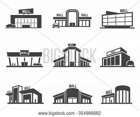 Shopping Mall Or Store Vector Icon Set