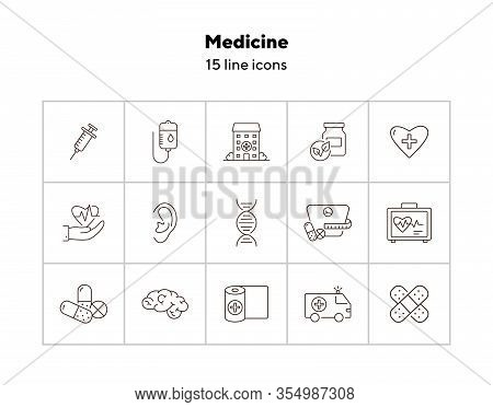 Medicine Icons. Set Of Line Icons. Human Dna, Hospital Building, Blood Infusion. Medical Treatment C