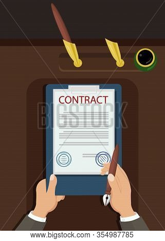 Official Declaration To Sign Vector Illustration. Hands Holding Clipboard And Pen Top View. Business