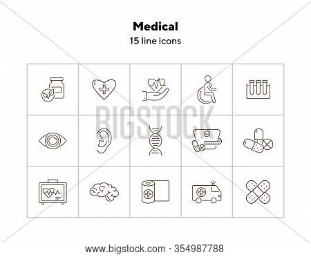Medical Icons. Set Of Line Icons. Human Ear, Human Brain, Human Eye. Healing Concept. Vector Illustr