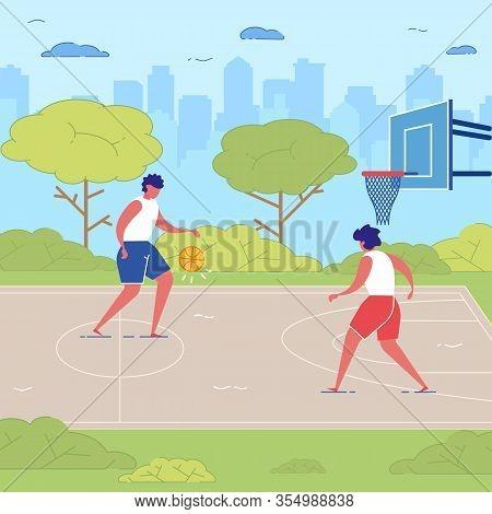 People Play Basketball Outdoor Teen Sport Training. Teens Sport Training At School Playground Court.