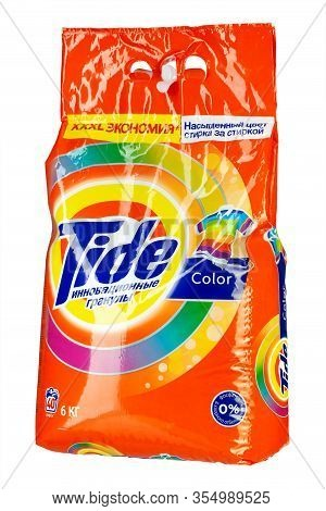 Ukraine, Kiev - February 20. 2020: Tide Washing Powder. Tide Brand Is A Manufacturer Of Laundry Dete