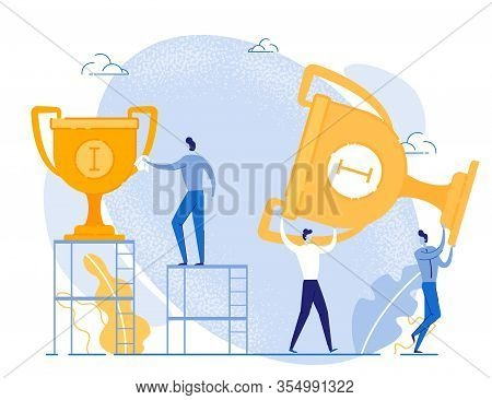 Gold Rewards For First Place. Goal Achievement And Business Success. Workers Team With Costly Reward