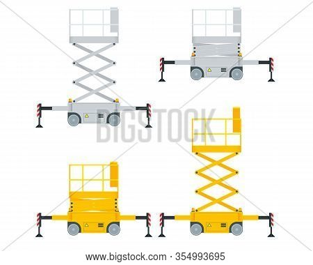 Yellow Engine Powered Scissor Lift Isolated On White Background. Vector Illustration In A Flat Style