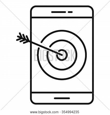 Target Smm Smartphone Icon. Outline Target Smm Smartphone Vector Icon For Web Design Isolated On Whi