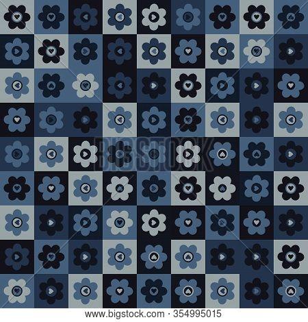 Indigo Blue Heart Mosaic Vector Seamless Pattern. Hand Drawn Daisy Dot Valentines Love Background. T