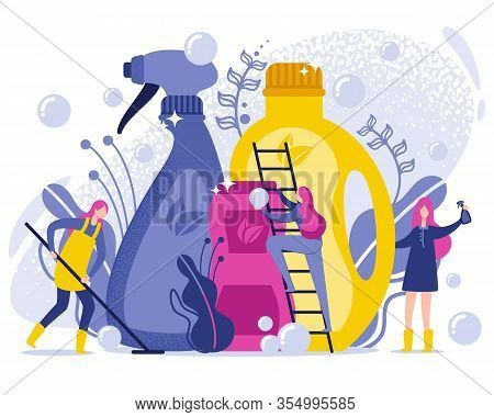 Washing And Cleaning Products Flat Illustration. Use Organic Cleaning Products And Detergents To Mai