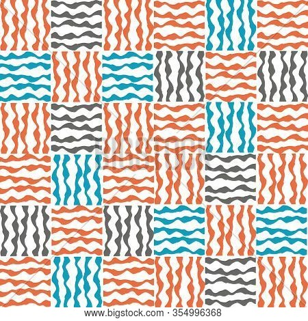 Vector Plaid Fabric Weave Seamless Pattern Background. Small Orange, Blue, Gray Squares Geometric Cl