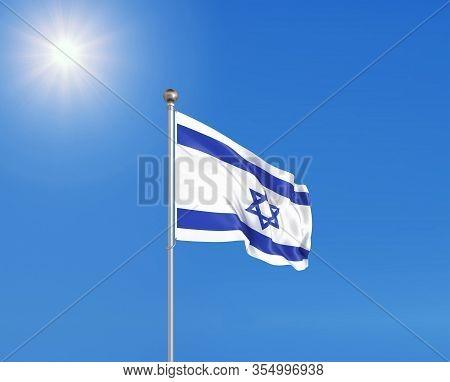 3d Illustration. Colored Waving Flag Of Israel On Sunny Blue Sky Background.