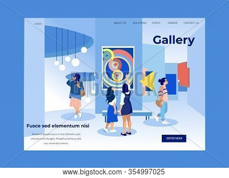 Women In Modern Museum View Exhibits. Exhibition Center. Vector Illustration . White Background. Wal