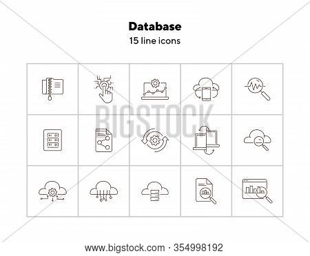 Database Line Icon Set. Software, Upload, Connection. Network Concept. Can Be Used For Topics Like T