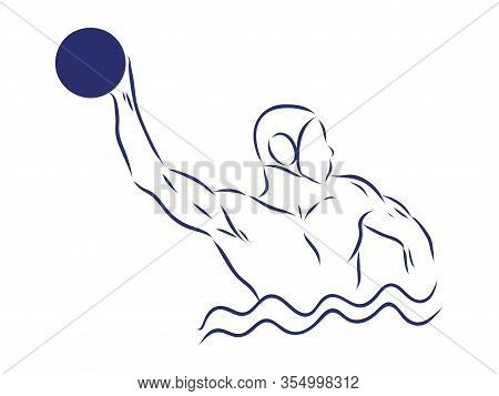 Water-polo Player. Water Polo Vector Image. Gate, Swimmer, Ball Isolated On Background.