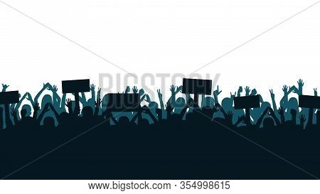 Protest And Strike, Demonstration And Revolution Concept. Silhouettes Of Crowd Of People With Raised