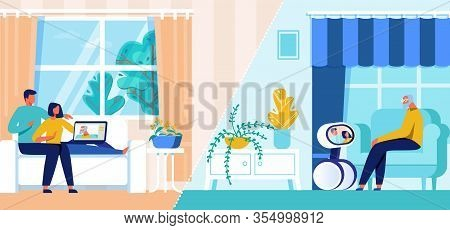 Young Couple Communicating With Senior Male Relative Character Distance Using Internet Technology. O