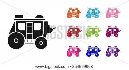 Black Western Stagecoach Icon Isolated On White Background. Set Icons Colorful. Vector Illustration