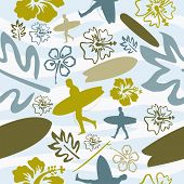Summer beach surfing seamless pattern background. Vector illustration layered for easy manipulation and custom coloring. poster