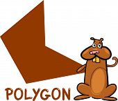 Cartoon Illustration of Polygon Basic Geometric Shape with Funny Hamster Character for Children Education poster