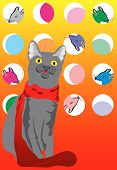 Vector illustration. A cat in a scarf and the mouse. poster