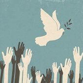 Group of hands and dove of peace. Retro illustration. Raster version. poster