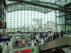 Berlin, Germany - April 29, 2019: The Beautiful And Crowded Berlin Hauptbahnhof Main Train Station I