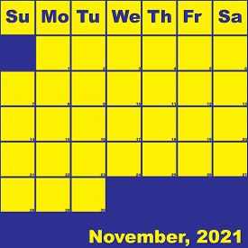 2021 November Yellow On Blue Planner Calendar With Huge Space For Notes