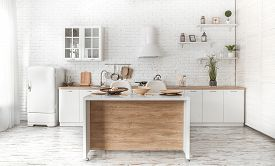 Modern Stylish Scandinavian Kitchen Interior With Kitchen Accessories. Bright White Kitchen With Hou