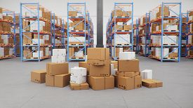 Cardboard Boxes In Middle Of The Warehouse, Logistic Center. Huge Modern Warehouse. Warehouse Filled