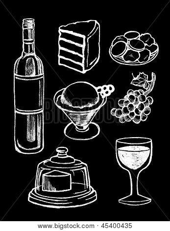 Chalk Board set of Food Illustrations and design elements - Fruit