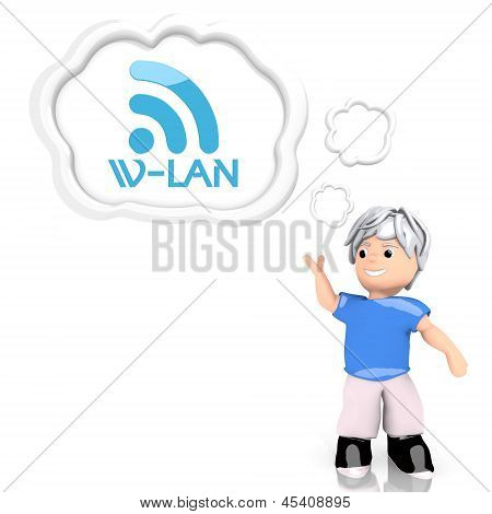 3d graphic of a smart w-lan symbol  thought by a 3d character