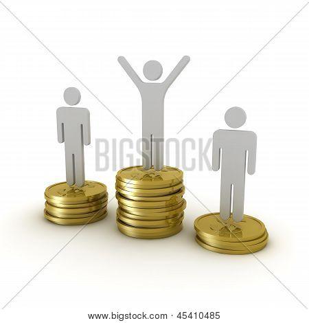 Award podium of money