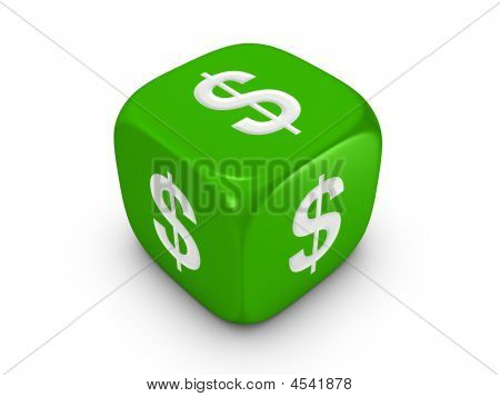 Green Dice With Dollar Sign