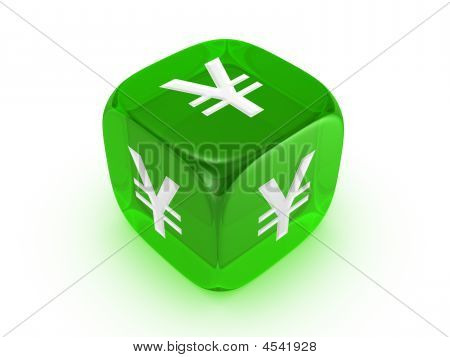 Translucent Green Dice With Yen Sign