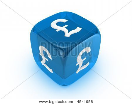 Translucent Blue Dice With Pound Sign