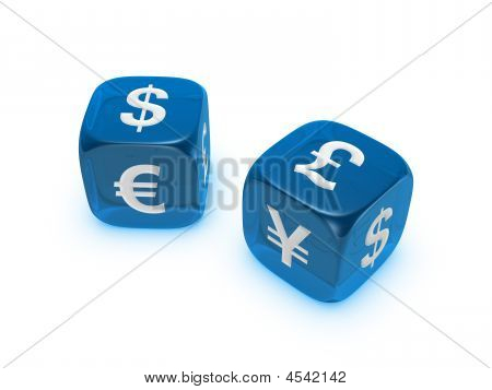 Pair Of Translucent Blue Dice With Currency Sign