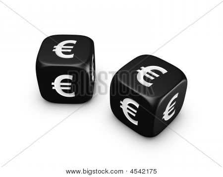 Pair Of Black Dice With Euro Sign