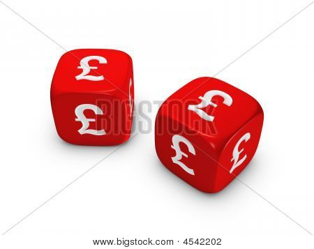 Pair Of Red Dice With Pound Sign
