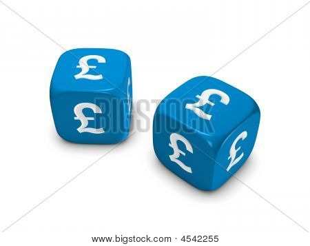 Pair Of Blue Dice With Pound Sign